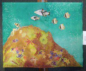 Save Our Oceans - Marine Life, painting on silkby Judy Elliott