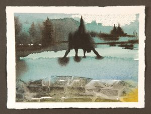 The Bridge, monotype print by Catie Faryl