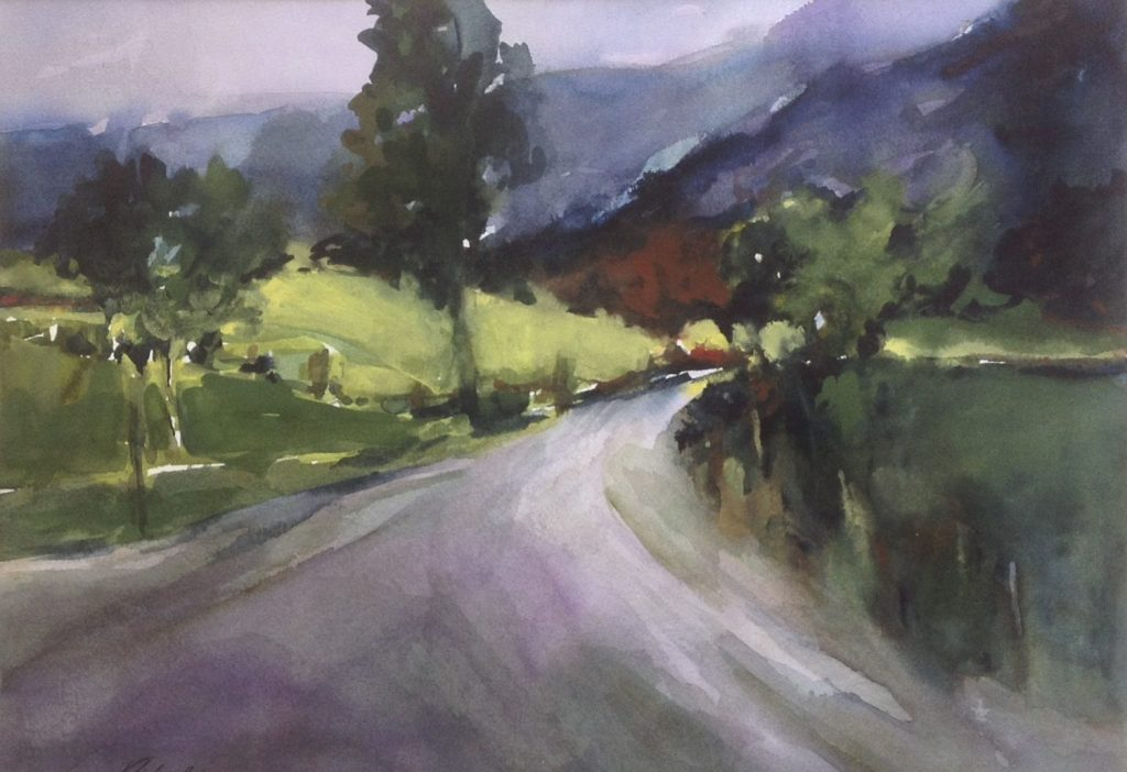 Humbug Creek Road, Watercolor by Dolores Ribal