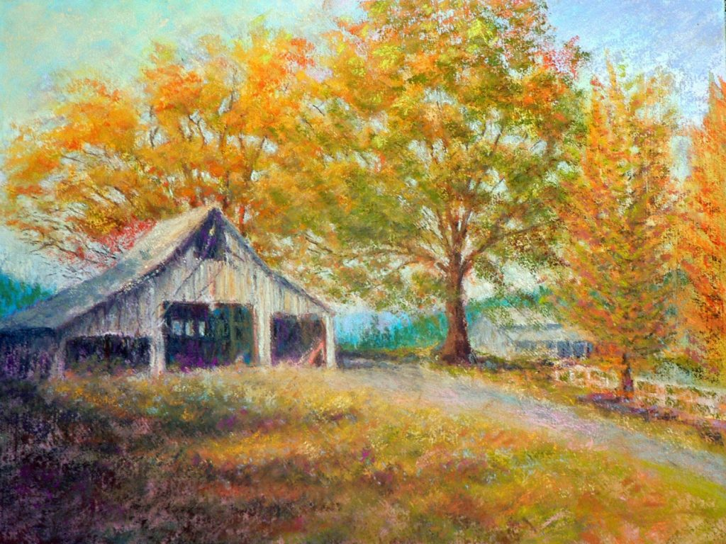 Red Lily Barn, pastel by Peter Coons