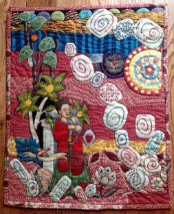 """Frida's Garden"" embroidered quilt wall hanging by Charlotte Wirfs"