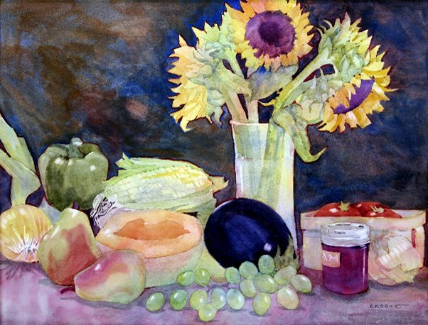 """""""Bountiful Harvest"""" watercolor painting by Anne Brooke"""