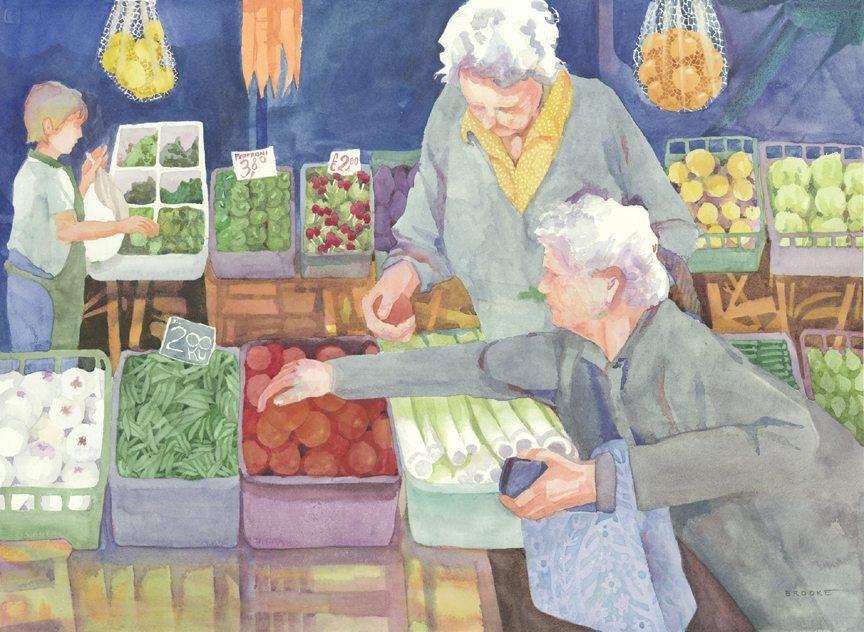 Italian Market, watercolor painting by Anne Brooke