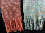 ART'Clectic Artisan's Market at Art Presence Art Center May 2015: Handwoven scarves by Carol Laenen