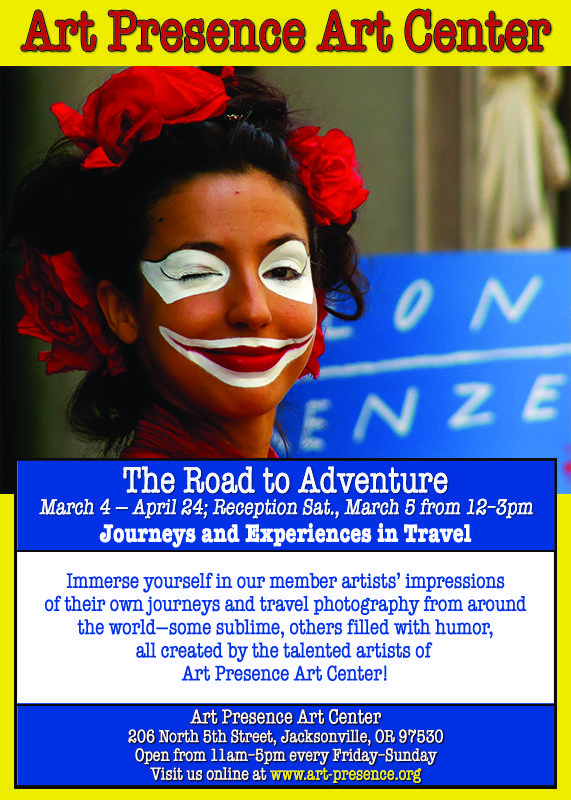 Art Presence Art Center - The Road to Adventure Show of Travel-themed art and photography March 2016 exhibit announcement