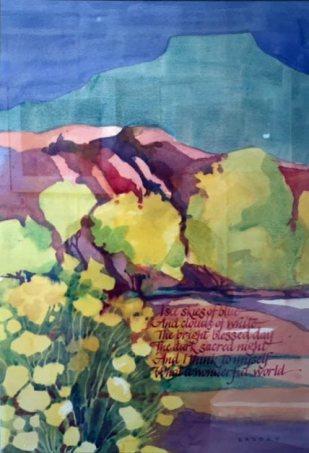 Wonderful World, watercolor by Anne Brooke