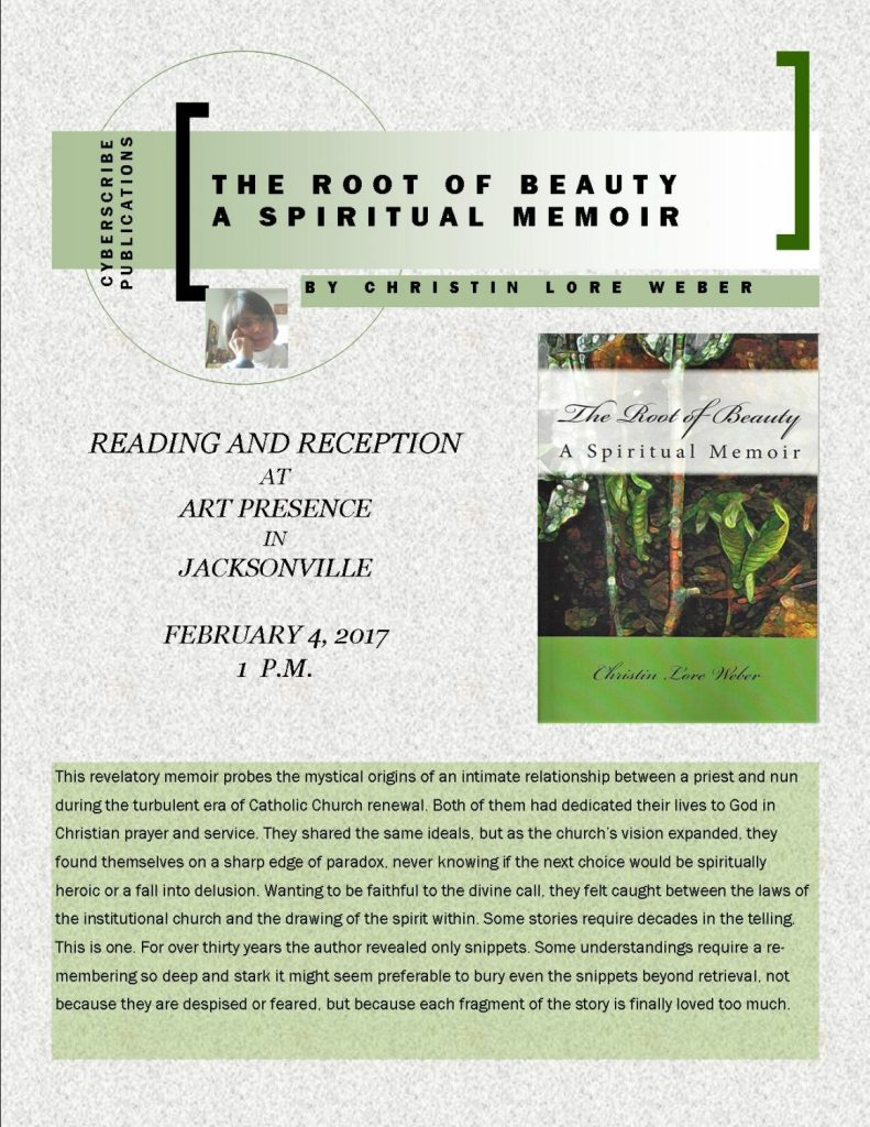 Flyer for The Root of Beauty Author Reading by Christin Lore Weber on Feb 4, 2017