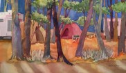 New Beginnings: Cantrall-Buckley Campground, watercolor by Anne Brooke