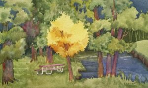 New Beginnings: Cantrall-Buckley Park, watercolor by Anne Brooke