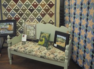Art'Clectic Garden Party group exhibition: Quilts by Charlotte Wirfs, garden Furniture by Lisa StArnold, Oils by Walt Wirfs