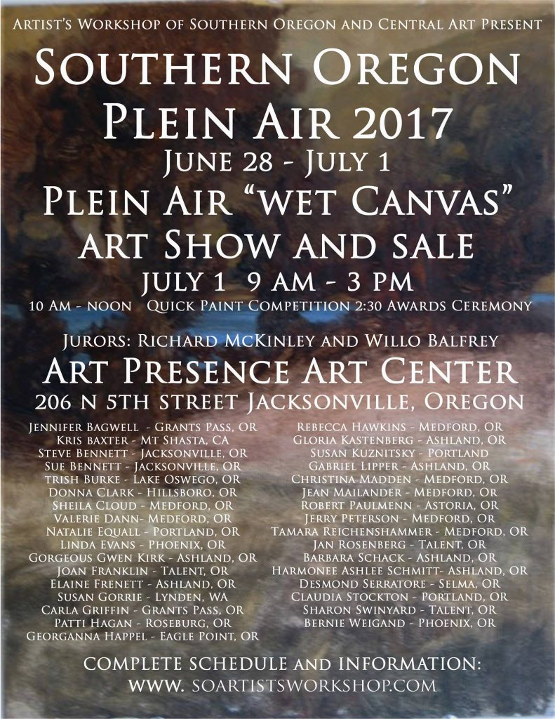 Artists Workshop July 2017 Plein Air Event Show and Sale