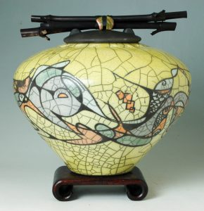 Geometry: The Art Within and Without - John Dodero Dynamic Cubism Series Raku Urn in Yellow