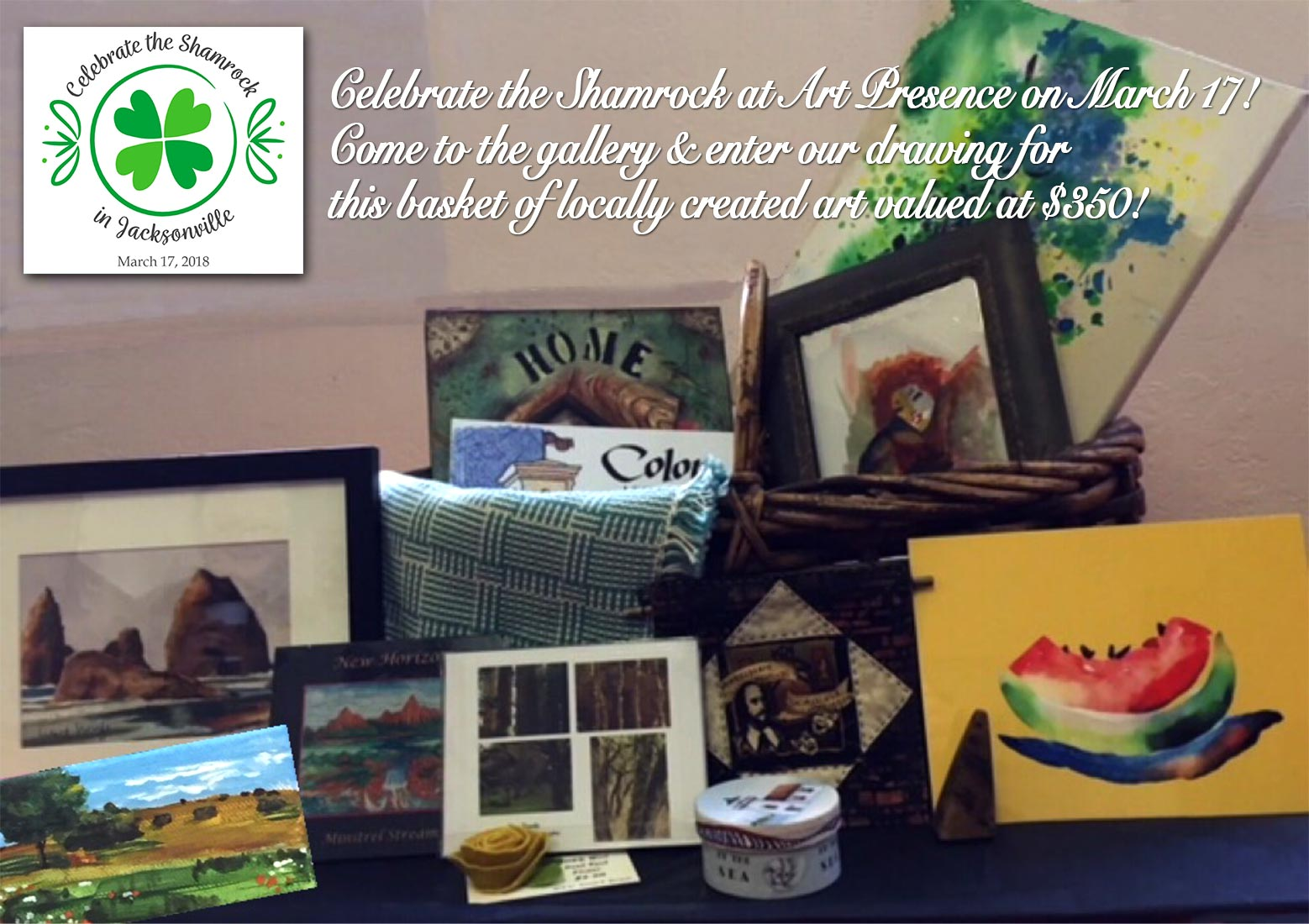 St Patrick's Day at Art Prewsence - Celebrate the Shamrock with us and enter to win this basket of art valued at $350!!