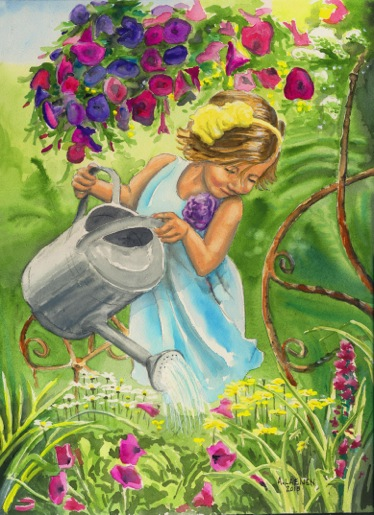 watercolor of a girl watering her garden by Anthony Laenen