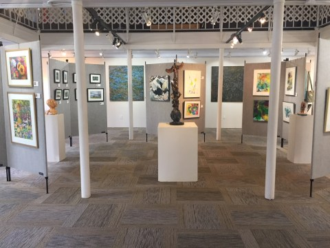 New Interior - Main Gallery - after adding drywall and painting, adding new carpet, a new hanging system and new art display panels at Art Presence Art Center, Jacksonville, OR