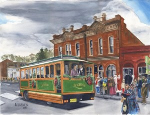 Jacksonville Christmas, watercolor by Tony Laenen