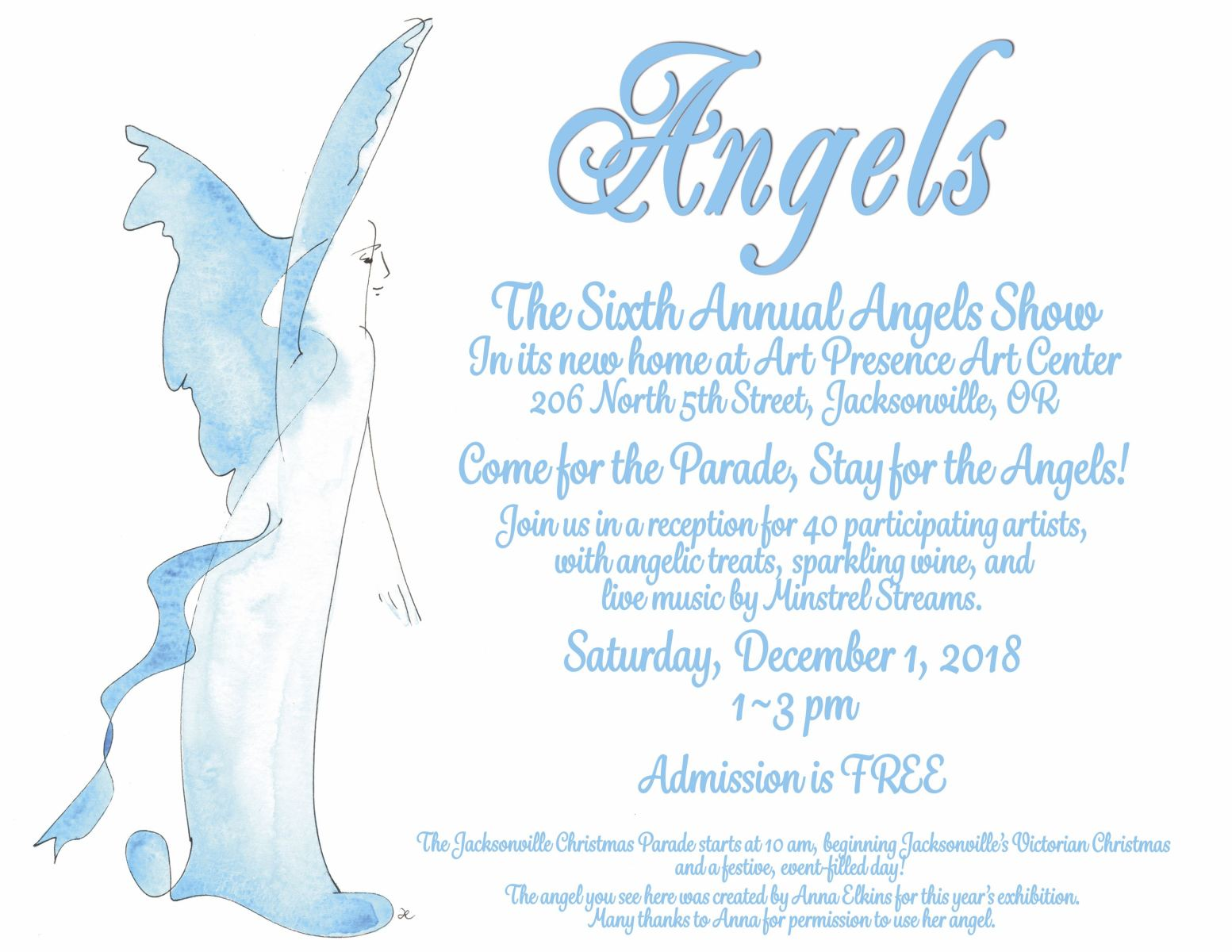 poster with information about the 2018 6th annual angels show at art presence art center