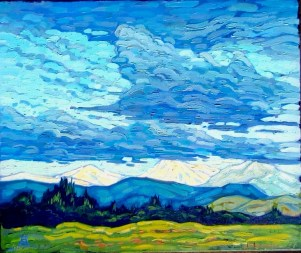 Up, Up and Away! March-April 2019 Members show - Shining Mountains, painting by Andre Satie