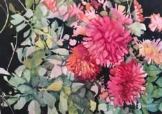 Garden Blooms, watercolor by Anne Brooke