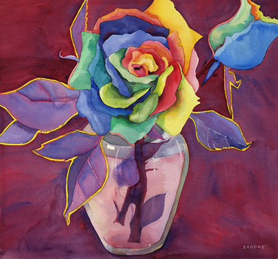 Unexpexted Roses, original watercolor by Anne Brooke