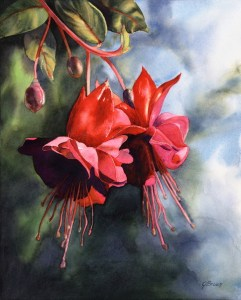 Celestial Journeys: Fuschia Fireworks, original watercolor by Joan Brown