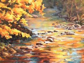 Gold Leaf, watercolor by Joan Brown
