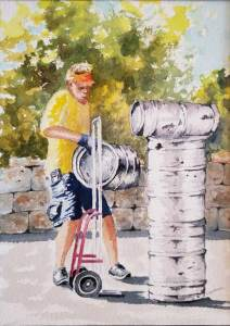 Painting of a beer delivery guy - Artists Workshop 2020 show