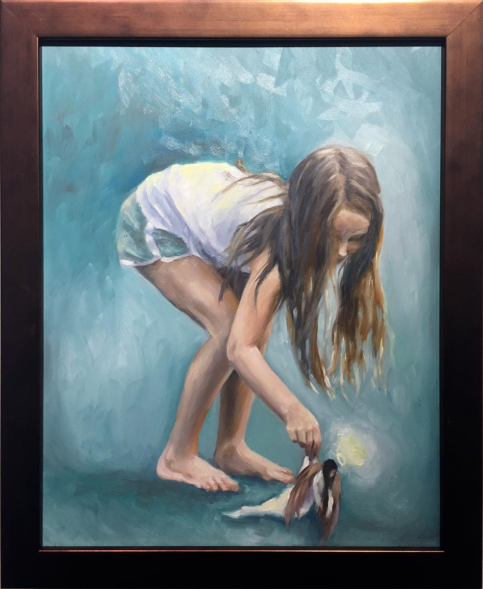 Fallen, 10 x 8 oil on panel by Erin Cam