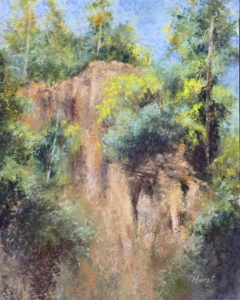 Cliffs Above the Rogue, pastel by Marilyn Hurst