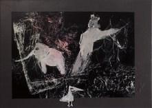 on the run, mixed media auf leinen, 50x70cm, 2014