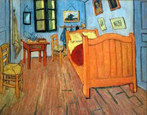 Painting by van Gogh of his bedroom at Arles, France
