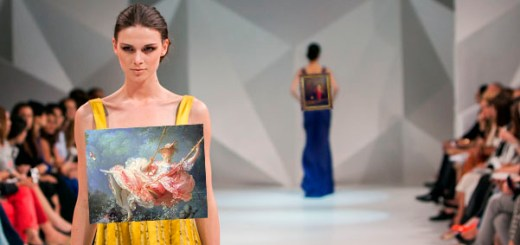 Art models walking on a fashion runway