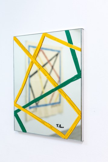 Futur, tape on mirror, 50 cm x 40 cm, 2016