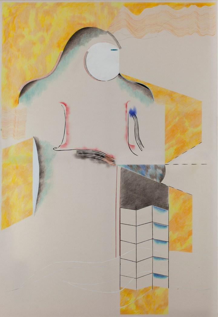 2 Untitled 2018 mixed media on raw canvas 150x120cm