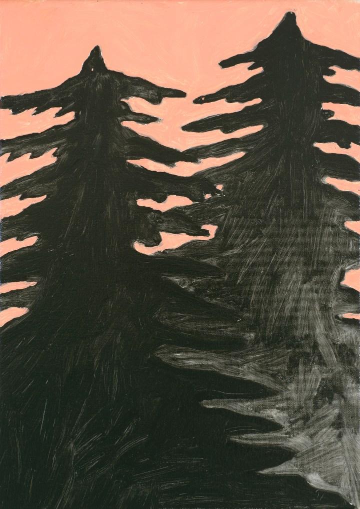 Pine trees, 35 x 25 cm, Oil on canvas, 2018