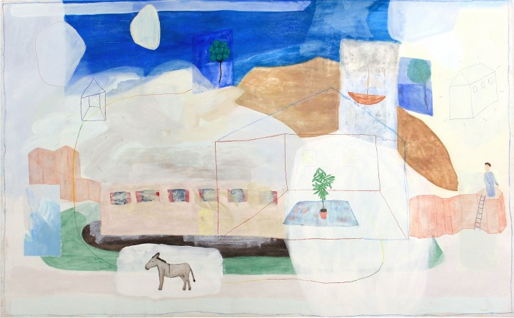 Juliette Dominati, 'The donkey, the man and the house', 120 x 240cm
