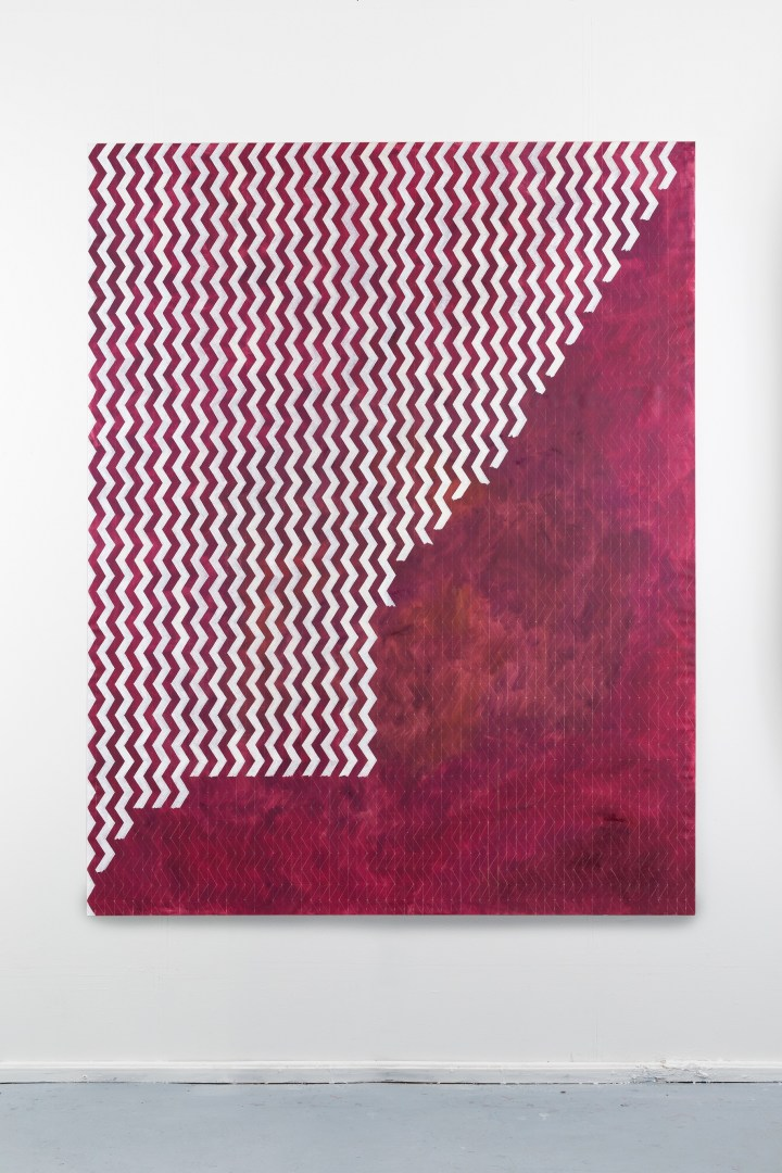Symbol struoil and mother of pearl pigment on linen, 260x190cm, 2017