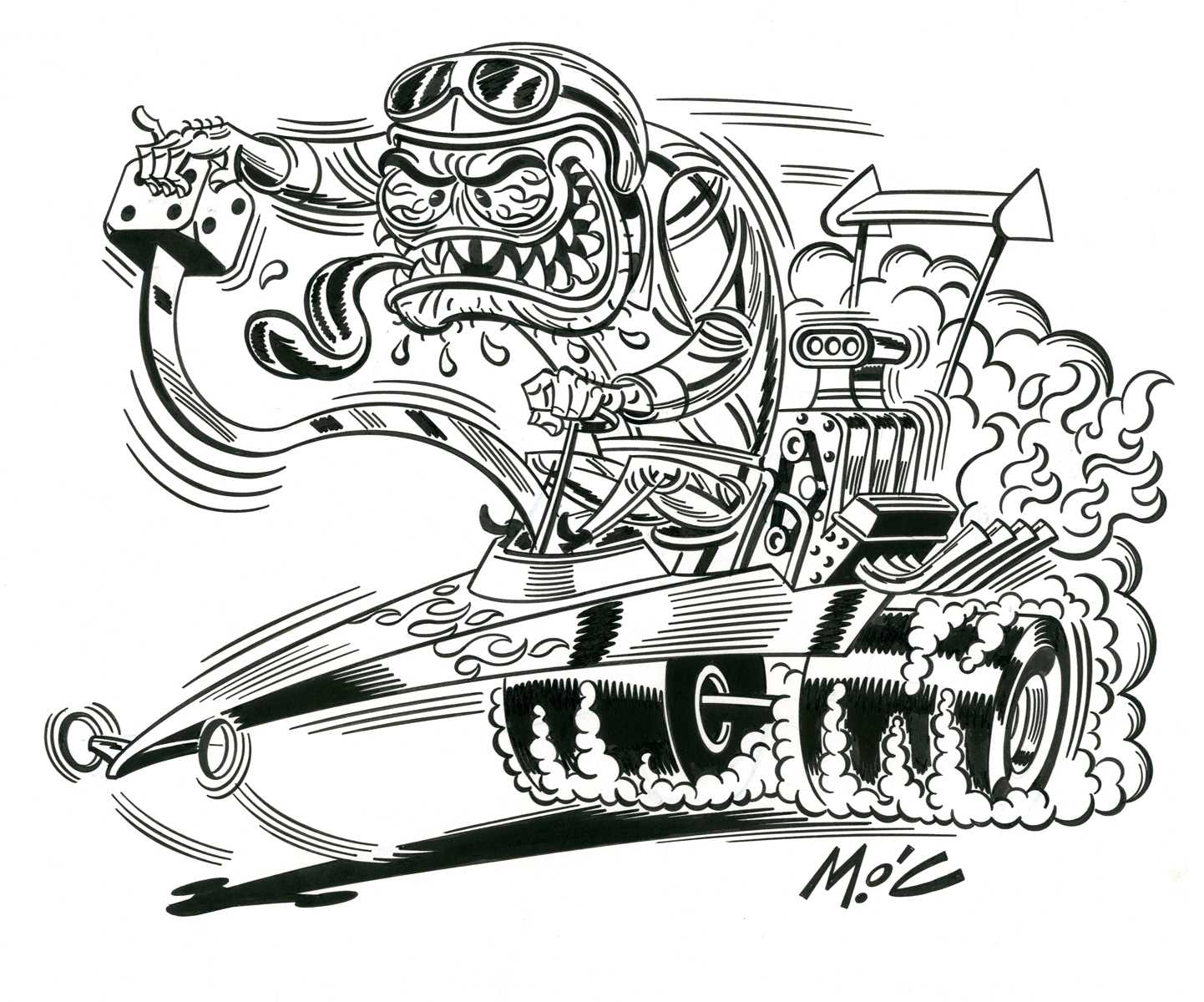 Hot Rod Engine Illustration