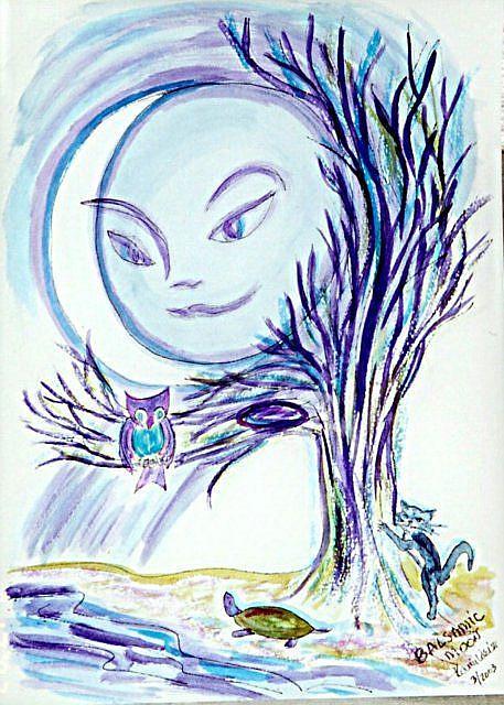 Art: Moon-face 8: Balsamic Moon by Artist Karin Elizabeth Weiss