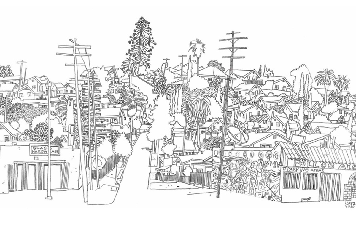 A line drawing of a Los Angeles cityscape.