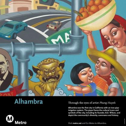 Art depicting representations of Alhambra's history.