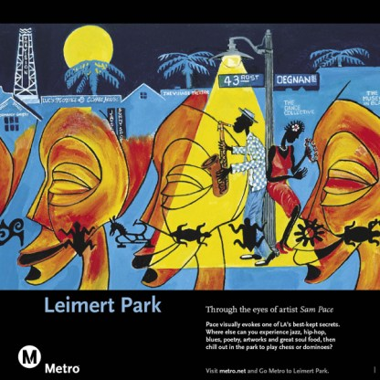 Art depicting a haven for jazz, hip-hop, blues, poetry, artwork and great soul food, Leimert Park.