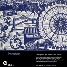 Rail card art including the goddess Pomona, orange trees from a bygone era, low-riders from the many car shows, the Ferris wheel, horse racing and farm animals, and more.