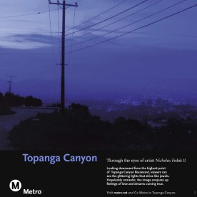 Art depicts looking downward from the highest point of Topanga Canyon Boulevard with glittering lights.