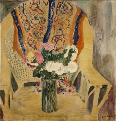 """Flowers in Armchair,"" oil on linen, 1956"
