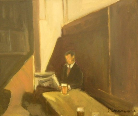 """""""Reader with Pint,"""" oil on canvas"""