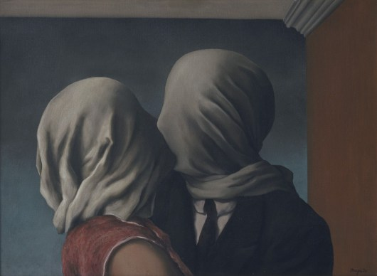 "René Magritte. ""The Lovers (Les Amants),"" oil on canvas, 1928"