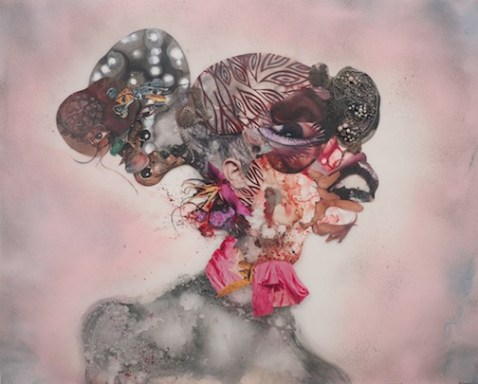 16.Wangechi Mutu, Pretty Double-Head, 2010. Mixed media, ink, collage, and spray paint on Mylar; 34 x 41 3/4 inches (86.36 x 106.05 cm). Collection of Blake Byrne, Los Angeles. Image courtesy of Susanne Vielmetter Los Angeles Projects. © Wangechi Mutu. Photo by Robert Wedemeyer. Wangechi Mutu: A Fantastic Journey is organized by the Nasher Museum of Art at Duke University.