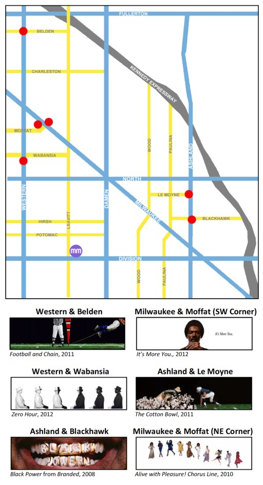 "map of the locations of Hank Willis Thomas' ""Bench Marks"" art projects"