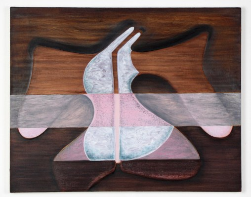 "Magalie Guérin. ""Untitled (hat-wood),"" 2013, oil on canvas"